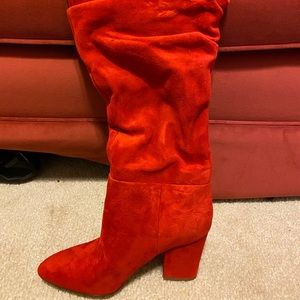 NWT Red Suede Nine West Castien Boots